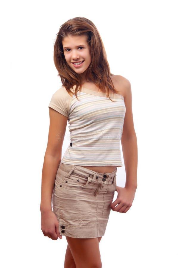 för flickaskirt för blus som gulligt le är tonårs- arkivbilder