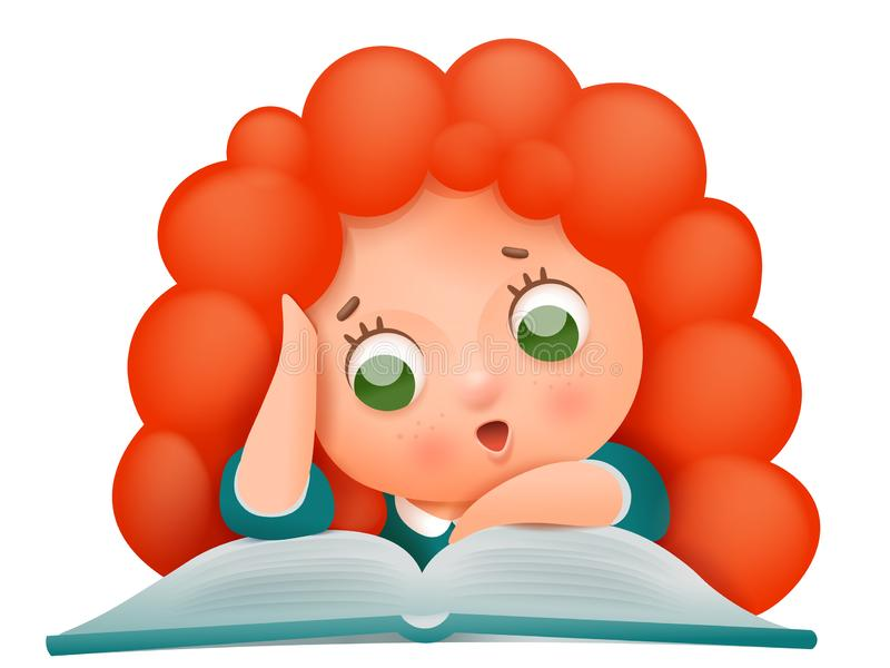 För flickatecken för tecknad film gullig ljust rödbrun läsebok stock illustrationer