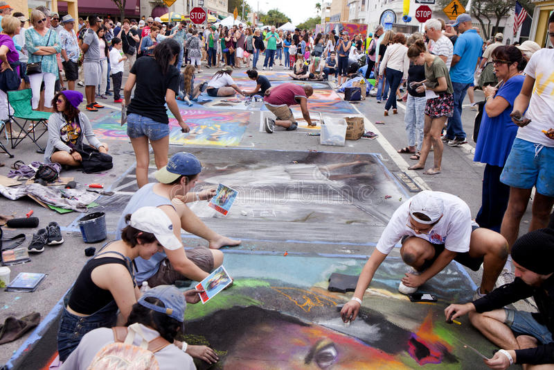För Florida för årlig sjö värd festival för målning gata royaltyfria foton