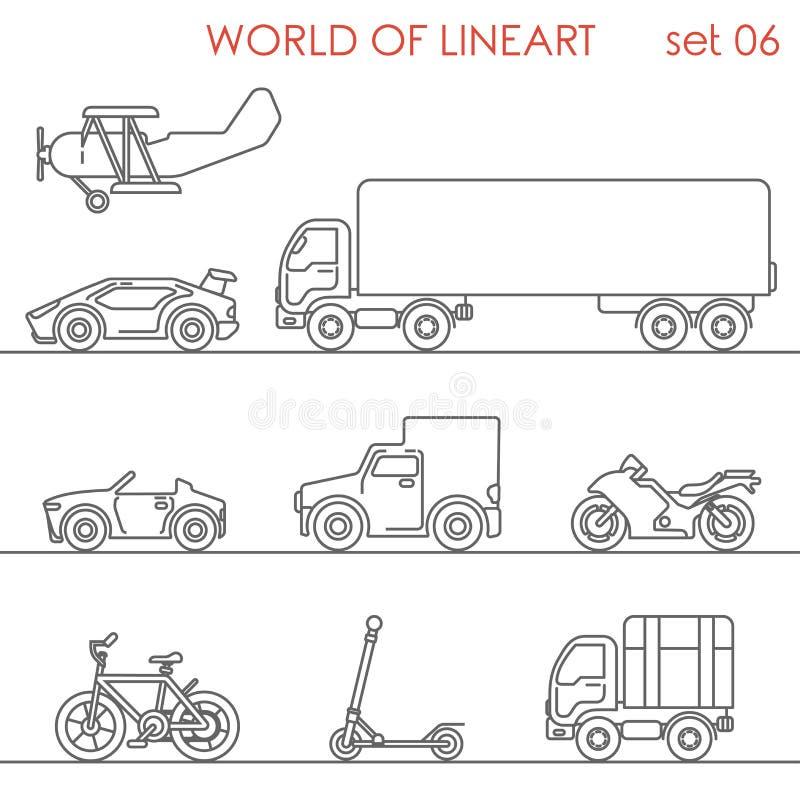 För flyg- uppsättning för hipster för lineart vägmoto för transport grafisk Linje konstsamling royaltyfri illustrationer