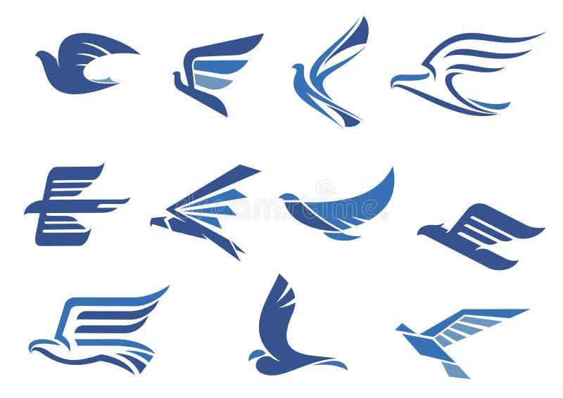 För flygblått för abstrakt begrepp snabba fåglar stock illustrationer