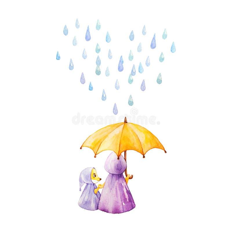 för flygillustration för näbb dekorativ bild dess paper stycksvalavattenfärg Rävar i regnigt väder under umbrelen royaltyfri illustrationer
