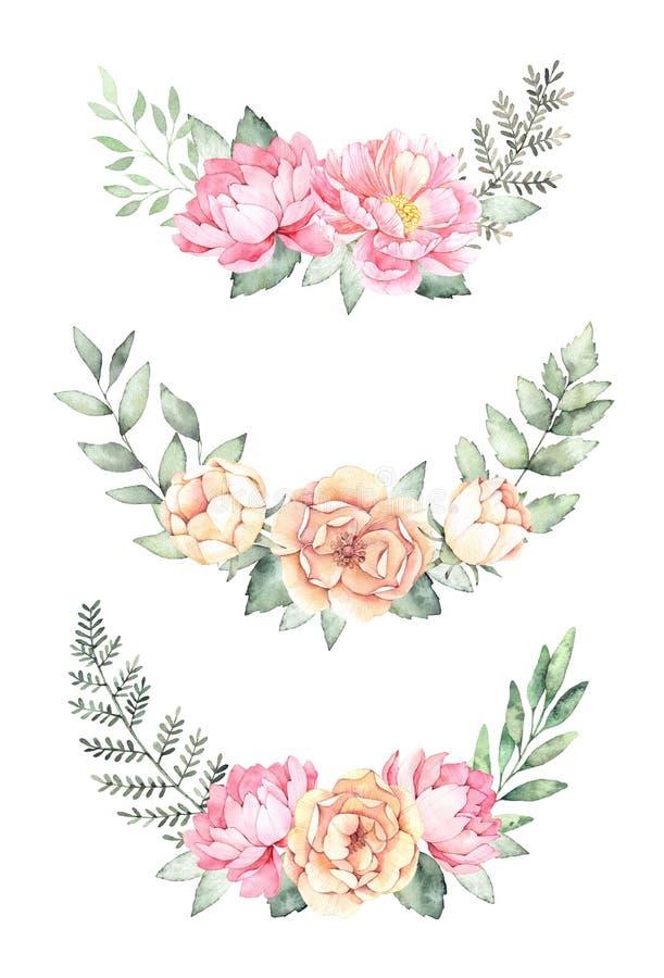 för flygillustration för näbb dekorativ bild dess paper stycksvalavattenfärg Botaniska buketter med gröna filialer, stock illustrationer