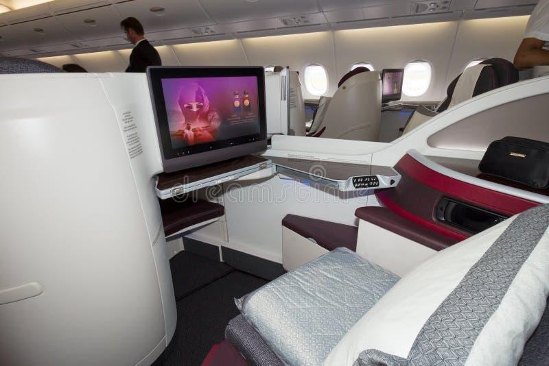 För flygplankabin för flygbuss A380 sikt arkivbild