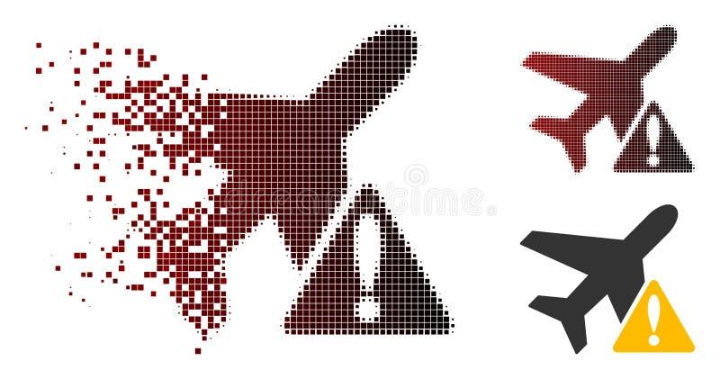 För flygplanvarning för splittrat PIXEL rastrerad symbol vektor illustrationer