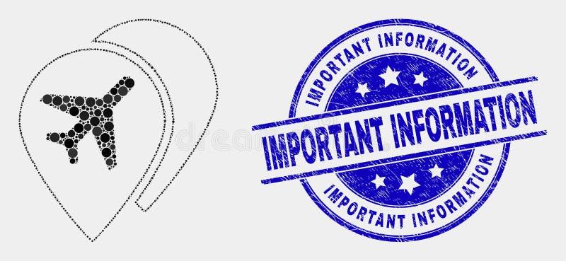 För flygplatsöversikt för vektor skyddsremsa för stämpel för prickig symbol för markörer och för viktig information om Grunge vektor illustrationer