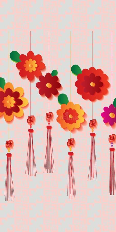 För fnureneffekt för blomma kinesiska rosa färger för design stock illustrationer