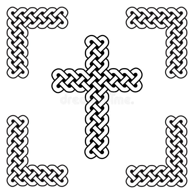 För fnurenkors för keltisk stil ändlösa krökta symboler i vit och svart i den knöt ramen som inspireras vid dag för irländareSt P royaltyfri illustrationer