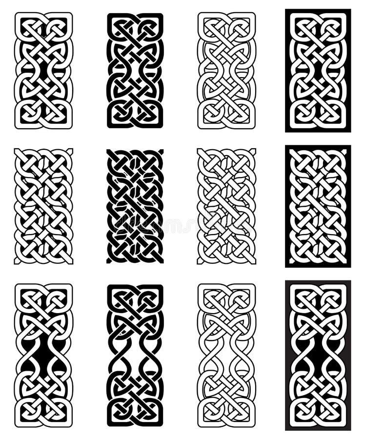 För fnurenrektangel för keltisk stil ändlösa symboler i vit och svart som inspireras vid dag för irländareSt Patrick ` s, och sko royaltyfri illustrationer