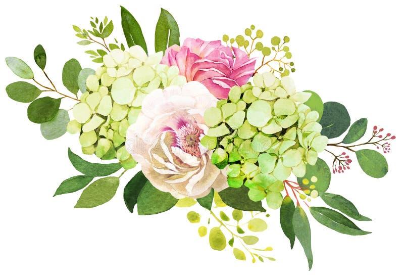för fokusförgrund för 3 bukett bröllop Pionen vanlig hortensia och steg blommavattenfärgen il stock illustrationer