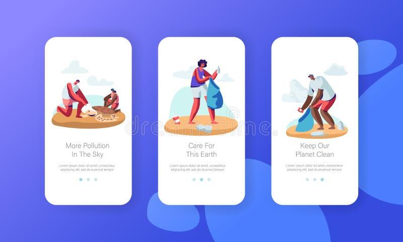För folk avfall mot efterkrav på den mobila Appsidan för stranden Onboard skärmuppsättning, ställa upp som frivillig rengörande a royaltyfri illustrationer