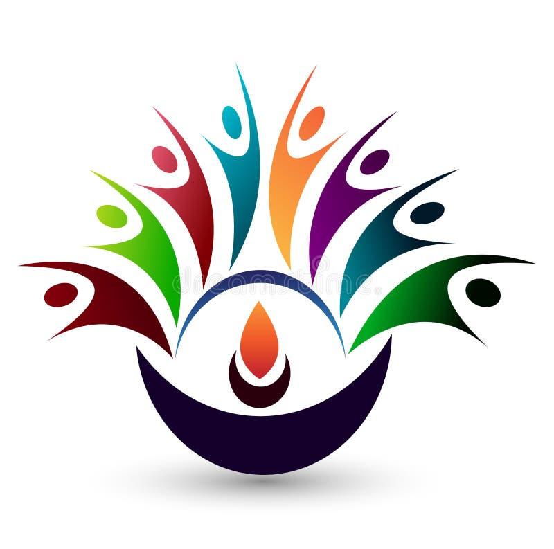 För folk logo tillsammans på vit tillbaka jordning royaltyfri illustrationer
