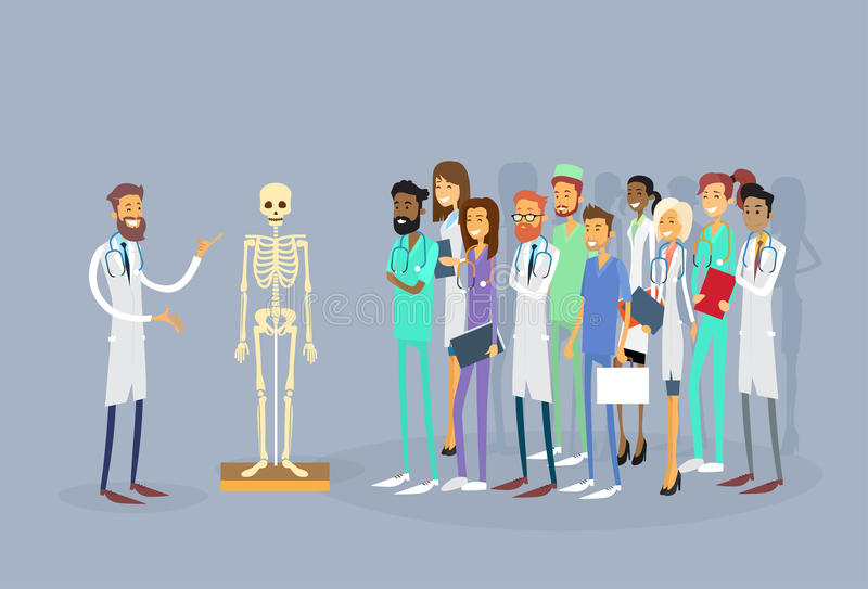 För folkallmäntjänstgörande läkare för medicinska doktorer grupp studie för människokropp för föreläsning skelett- stock illustrationer