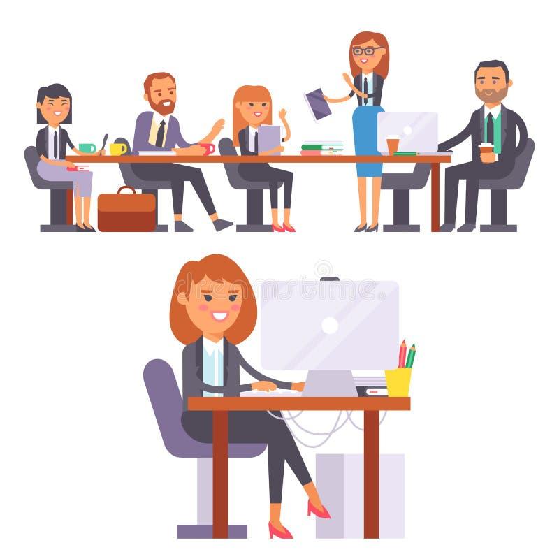 För folkarbete för vektor som plan person för arbetare för affär för ställe i regeringsställning arbetar på bärbara datorn på cow stock illustrationer