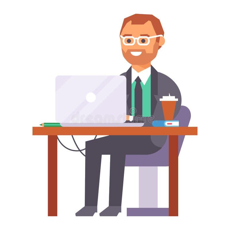 För folkarbete för vektor som plan person för arbetare för affär för ställe i regeringsställning arbetar på bärbara datorn på cow royaltyfri illustrationer