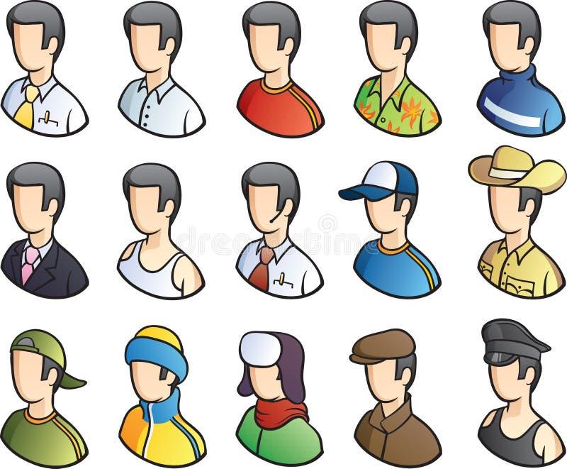 för folkperson för symbol en arbete för användare set stock illustrationer