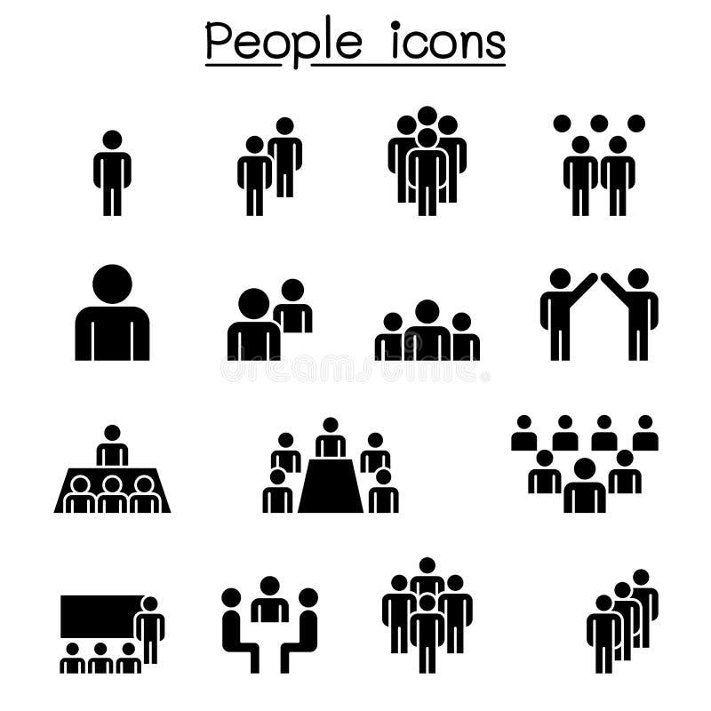 för folkperson för symbol en arbete för användare set royaltyfri illustrationer