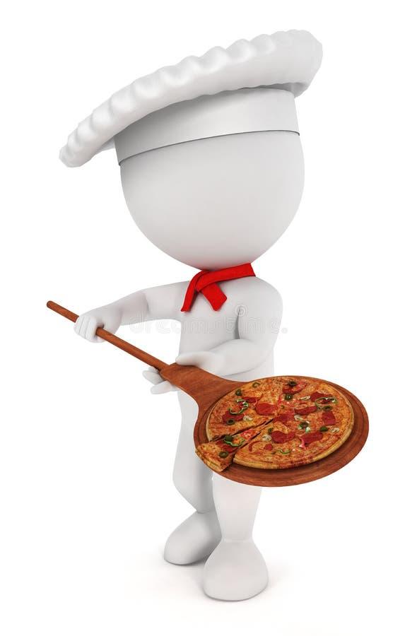 för folkpizza för kock 3d white royaltyfri illustrationer