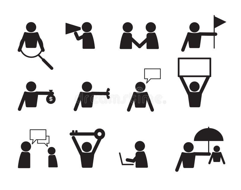 För folksymbol för affär kommersiell vektor för uppsättning royaltyfri illustrationer