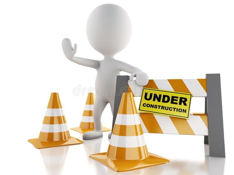 för folktecken för kottar 3d white för trafik för stopp Under konstruktion royaltyfri illustrationer