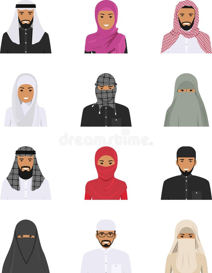 För folktecken för olika muslim ställde arabiska symboler in för avatars i plan stil isolerat på vit bakgrund skillnader vektor illustrationer