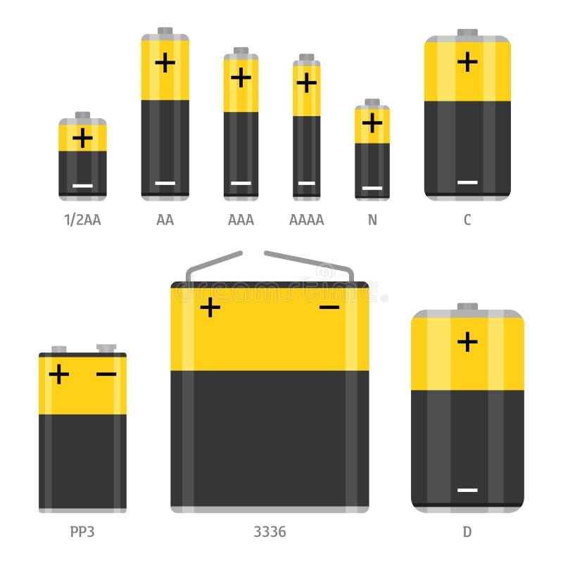 F?r formatvektor f?r alkaliskt batteri olik upps?ttning f?r symboler royaltyfri illustrationer