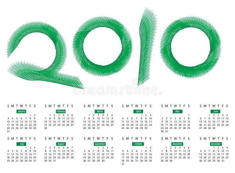 för formatvektor för 2010 kalender år royaltyfri illustrationer