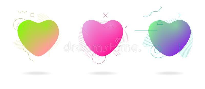För formförälskelse för vätskefärg abstrakt geometrisk uppsättning för former för hjärta Moderna plast- abstrakta färgrika baner  royaltyfri illustrationer