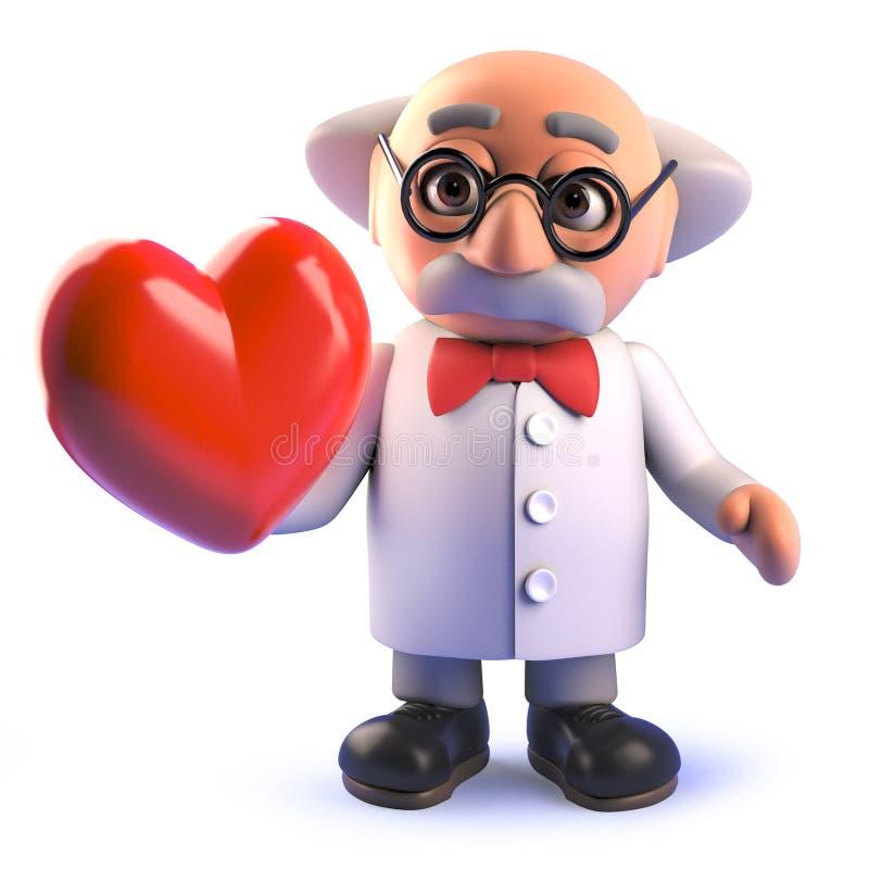 för forskareprofessor för tecknad film som 3d tokigt tecken rymmer en röd hjärta vektor illustrationer