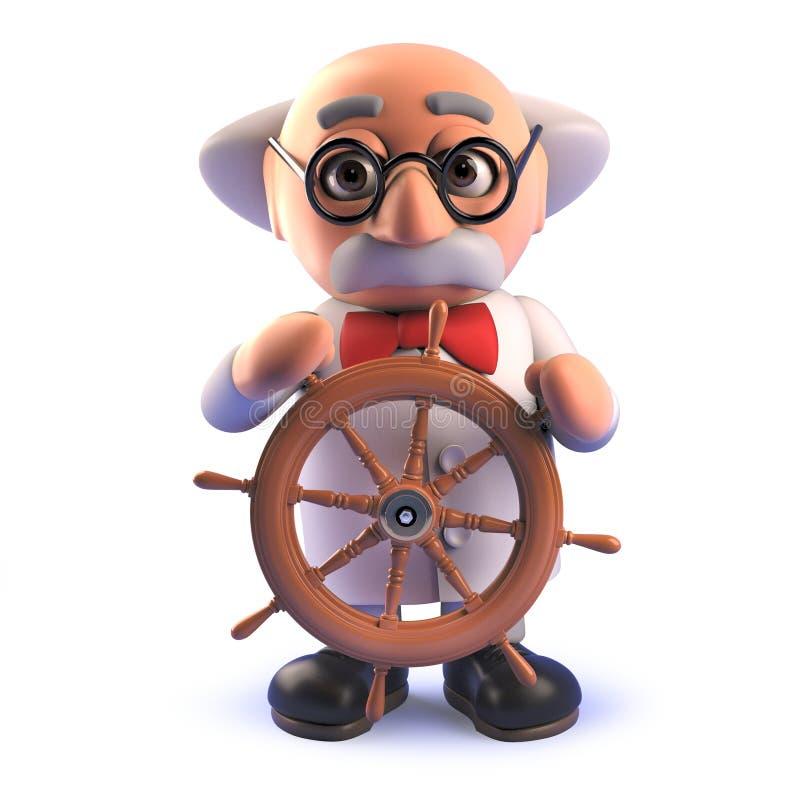 För forskareprofessorn för tecknade filmen 3d rullar den tokiga styrningen med skepp stock illustrationer