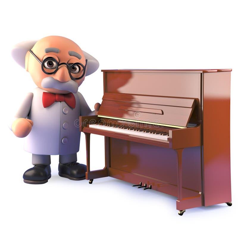 för forskaretecken för tecknad film 3d tokigt anseende vid ett upprätt piano royaltyfri illustrationer