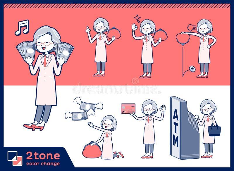för forskningdoktor för typ 2tone gammal women_set 11 vektor illustrationer
