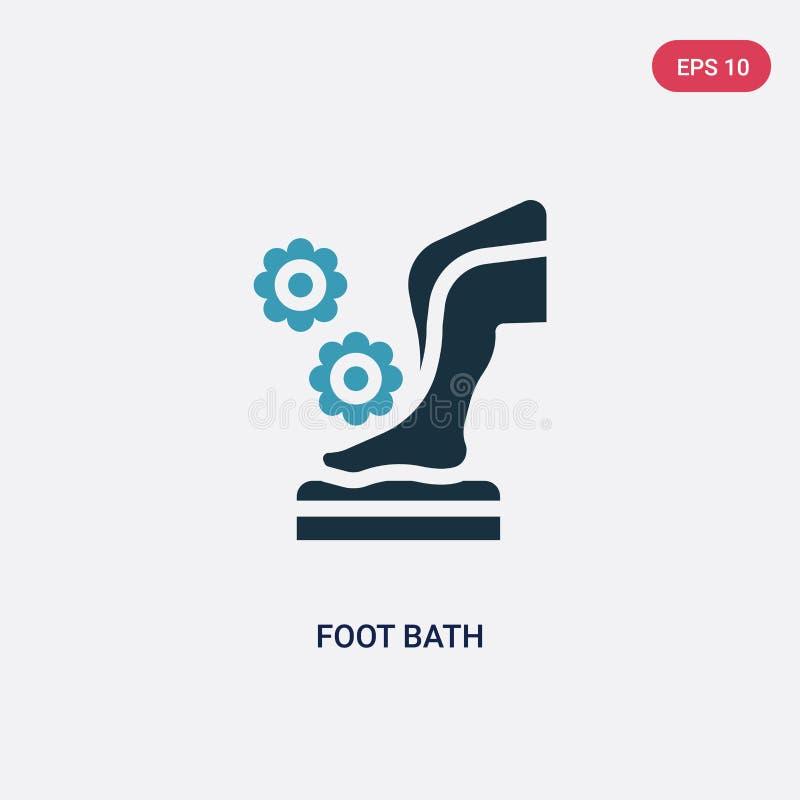 För fotbad för två färg symbol för vektor från bastubegrepp det isolerade blåa symbolet för tecknet för fotbadvektorn kan vara br royaltyfri illustrationer