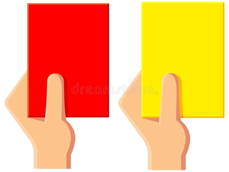 För fotbolldomare för tecknad film gul röd uppsättning för symbol för kort vektor illustrationer