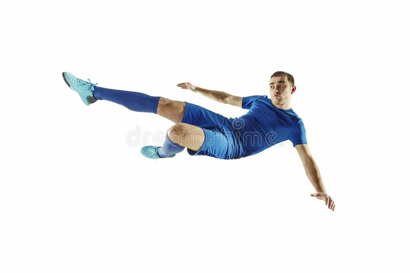 För fotbollspelare för yrkesmässig fotboll isolerad vit bakgrund arkivfoton