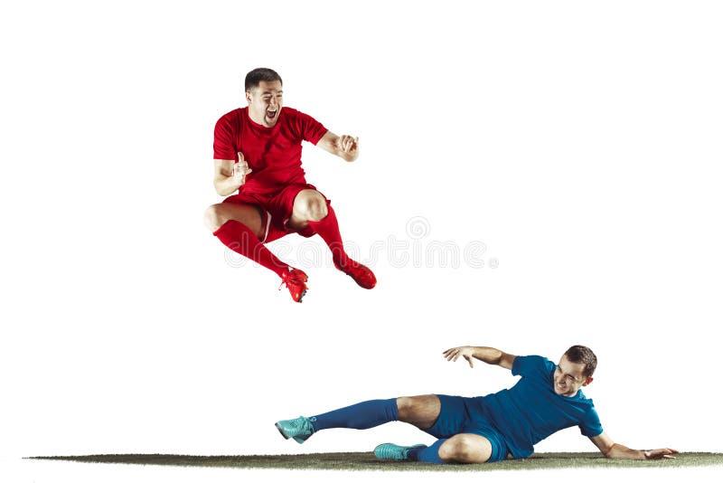 För fotbollspelare för yrkesmässig fotboll isolerad vit bakgrund royaltyfri bild