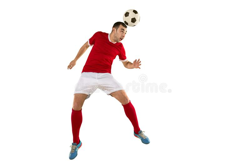 För fotbollspelare för yrkesmässig fotboll isolerad vit bakgrund royaltyfri foto