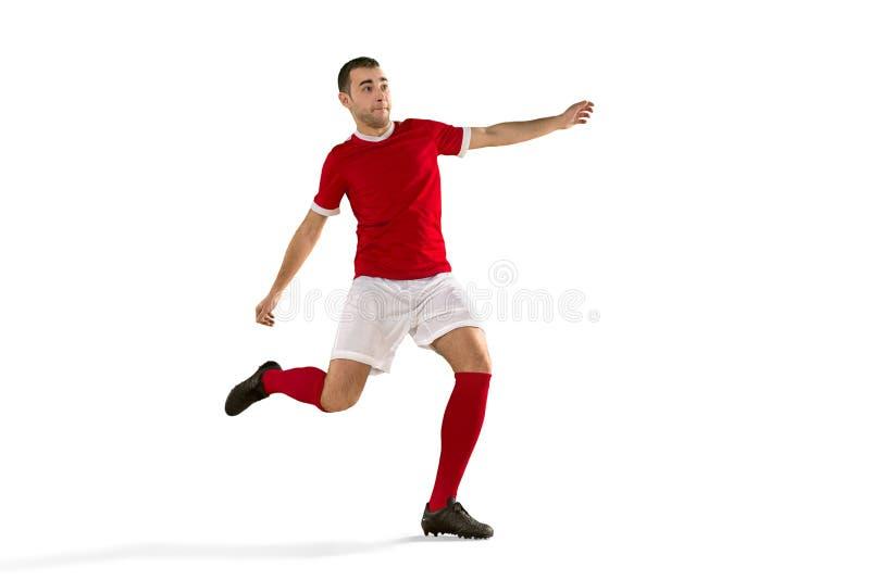 För fotbollspelare för yrkesmässig fotboll isolerad vit bakgrund royaltyfria foton