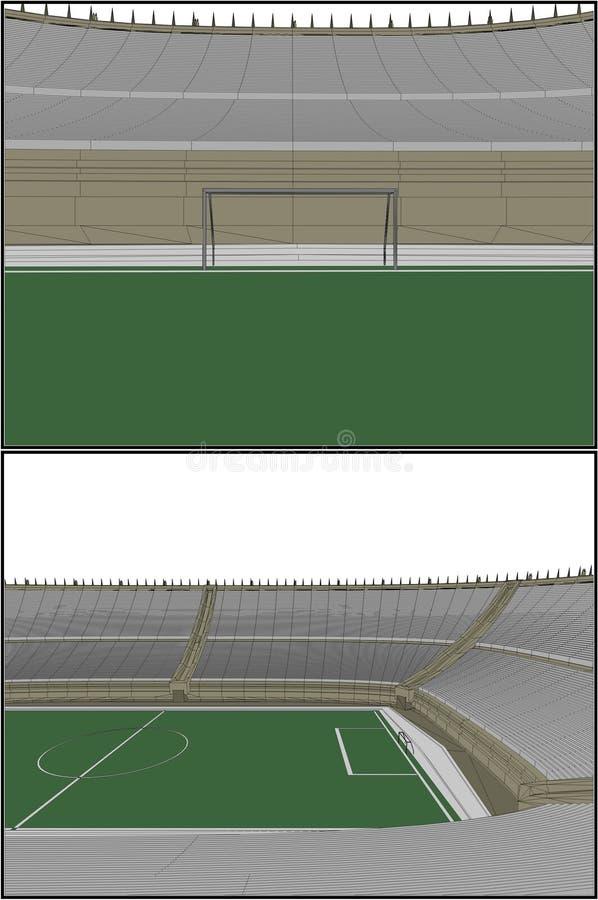för fotbollstadion för 11 fotboll vektor vektor illustrationer