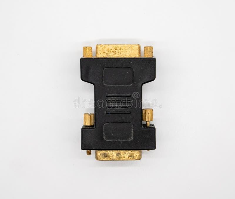 för fotografistudio för adapter bakgrund isolerad white för tech DVI-kontaktdon royaltyfri bild