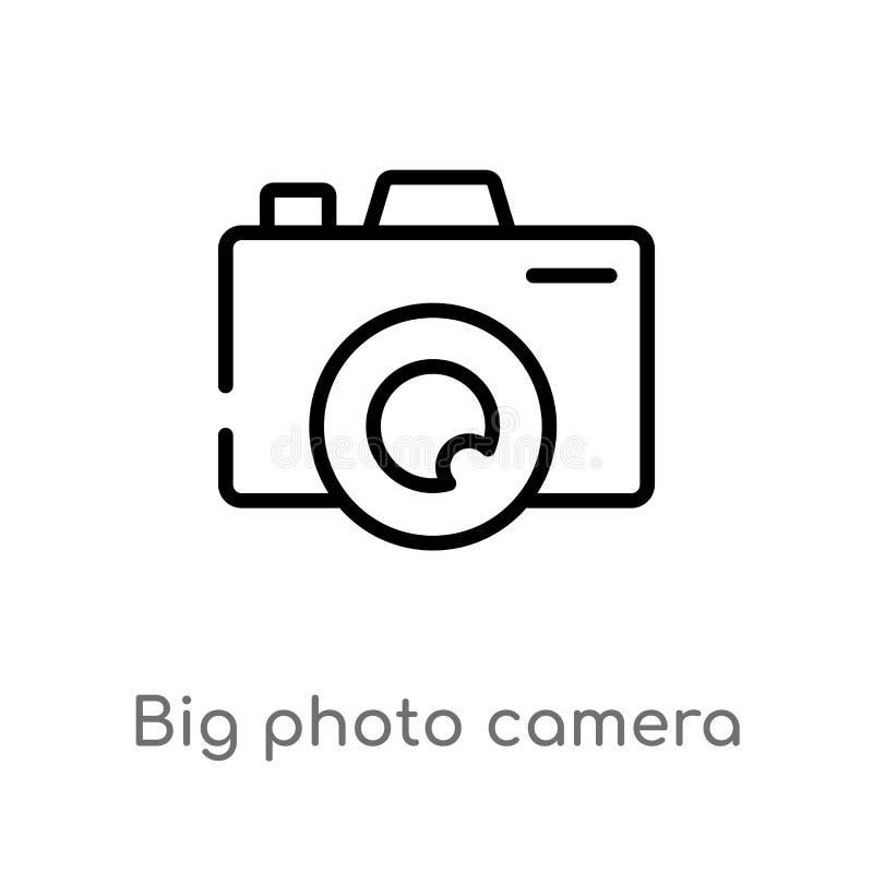 för fotokamera för översikt stor symbol för vektor isolerad svart enkel linje beståndsdelillustration från socialt massmediabegre vektor illustrationer
