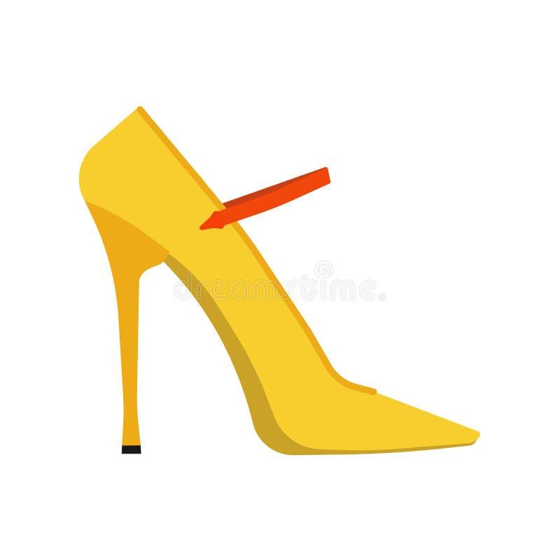 För fotskor för hög häl gula härliga kläder Kvinnlig moderiktig sikt för sida för modetillbehör plan F?r modellvektor f?r f?r?lsk stock illustrationer