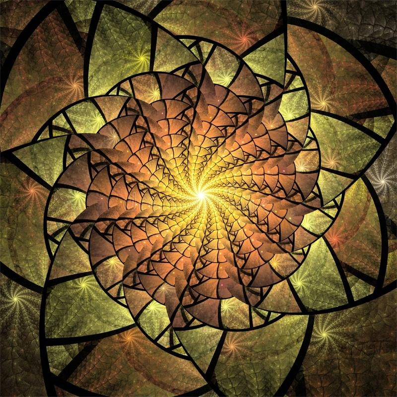 För fractalkonst för dator digital design, fantastiska former för abstrakta fractals, kalejdoskop för gul mosaik stock illustrationer