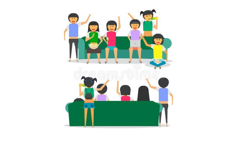 För framdel-baksida för soffa för grupp för kvinna för flicka för partikamratskap tillsammans illustration ep10 för vektor sikt stock illustrationer