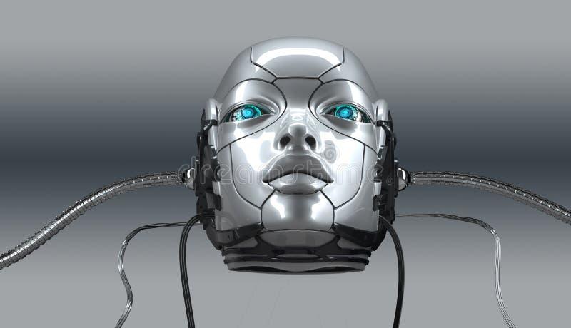 För framsidacloseupen för roboten framför den kvinnliga ståenden, 3d vektor illustrationer