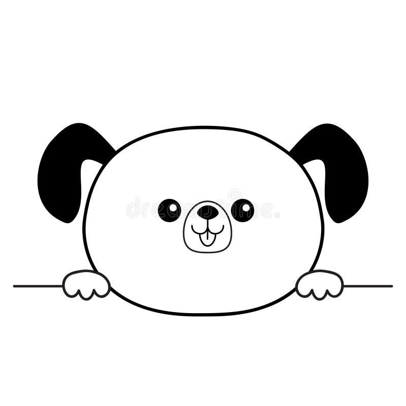 För framsidahuvud för hund lycklig symbol för kontur Händer tafsar innehavet Konturlinje Gulligt tecknad filmpoochtecken Kawaii d royaltyfri illustrationer