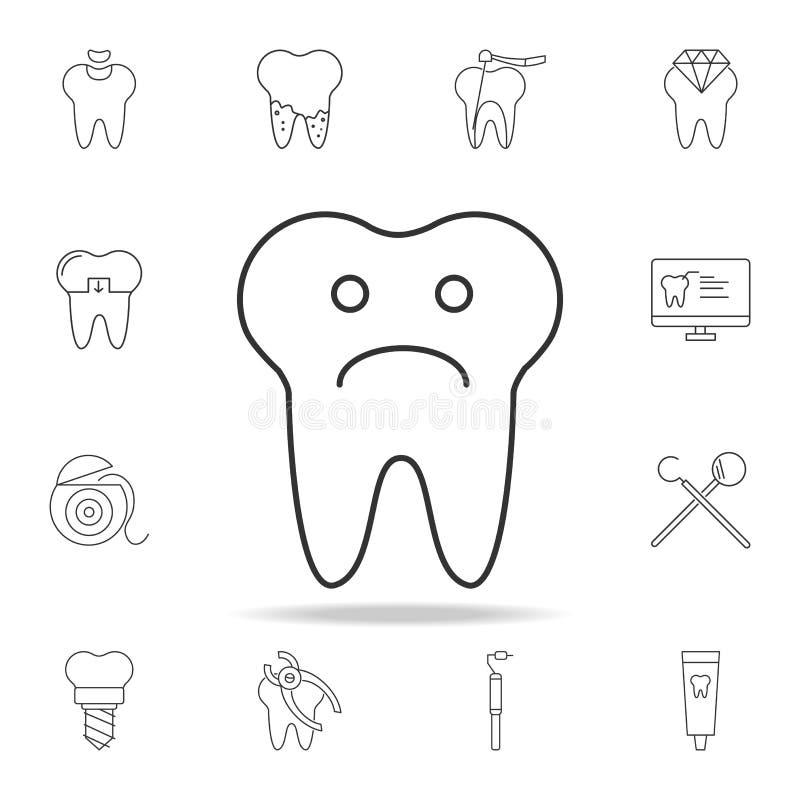 För framsidatecken för tand ledsen symbol Detaljerad uppsättning av den tand- översiktslinjen symboler Högvärdig kvalitets- symbo stock illustrationer