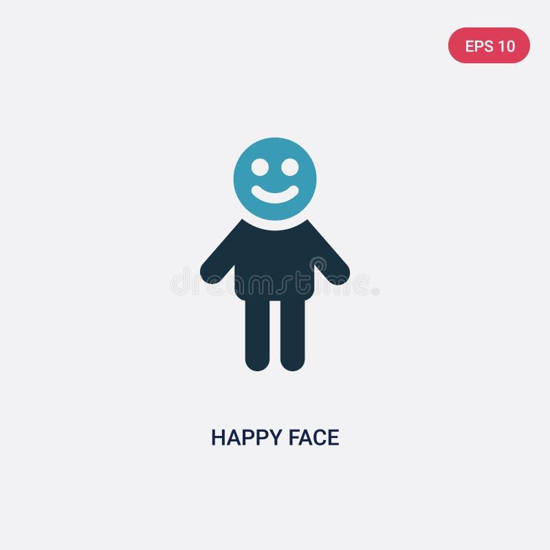För framsidavektor för två färg lycklig symbol från folkbegrepp det isolerade blåa lyckliga symbolet för framsidavektortecknet ka stock illustrationer