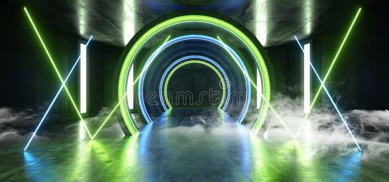 För framtida korridor för tunnel för grön blå studio för ljus för neon för Grunge Sci Fi för rök cirkel vibrerande konkret glödan vektor illustrationer