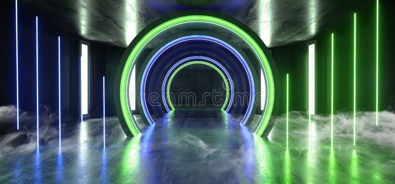 För framtida korridor för tunnel för grön blå studio för ljus för neon för Grunge Sci Fi för rök cirkel vibrerande konkret glödan stock illustrationer
